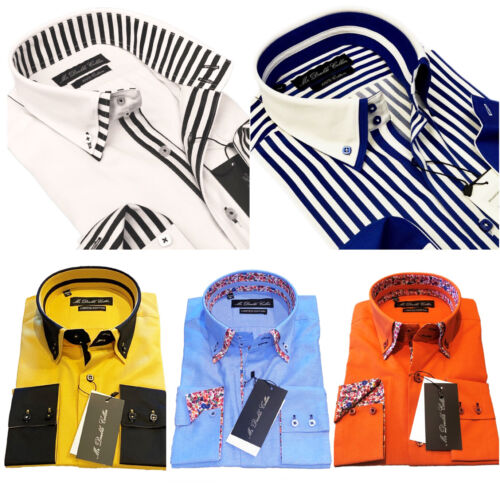 Luxury Mens Casual Double Collar Smart Fit Formal Shirt Italian Design