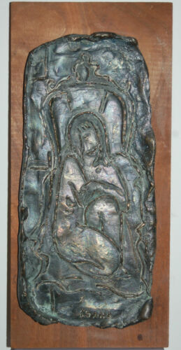 ORIGINAL SIGNED BRONZE RELIGIOUS ICON FIGURE RELIEF~ BRUTALIST ~ SIGNED KEANE