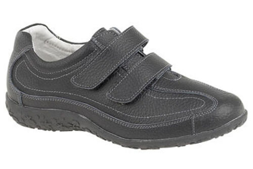 Womans Ladies Girls Leather EEE Extra Wide Fitting Leisure Trainers Shoes 3 - 9