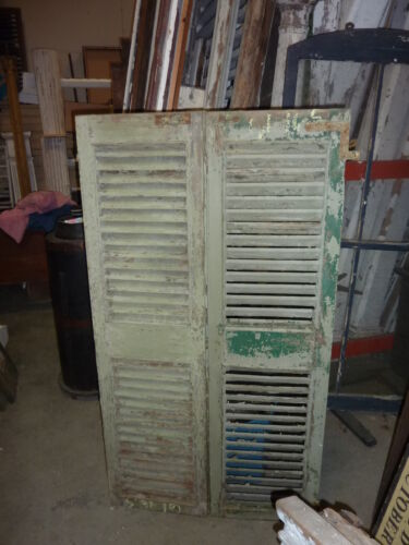 """PaiR victorian FIXED louvered house window SHUTTERS light GREEN 61 x 16.5"""""""