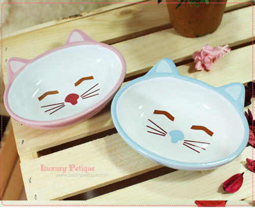 Cute Luxury Pet Food Bowl Feeder Dish for Dogs&Cats Smile Kitty Pink&Blue