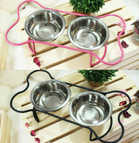 Cute Luxury Pet Food Bowl Feeder Dish 3pc Set for Dogs&Cats Pink&Black