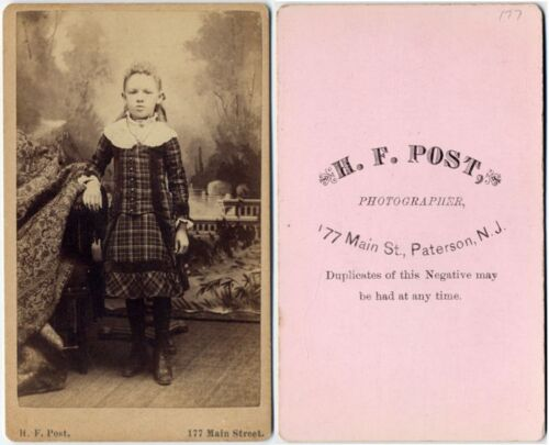 GIRL IN PLAID DRESS BY H. F. POST PATERSON, N. J., CDV