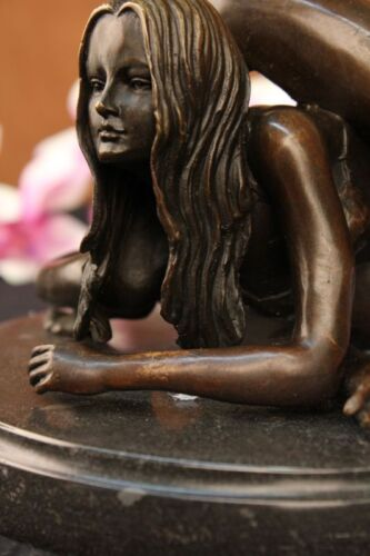 Limited Numbered Edition Original Nude Girl Bronze Marble Sculpture Statue Decor