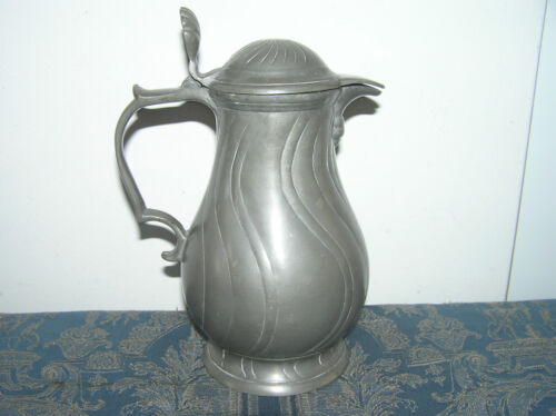 PEWTER WINE JUG DUTCH 18TH CENTURY HALLMARKED WITH ROSE.
