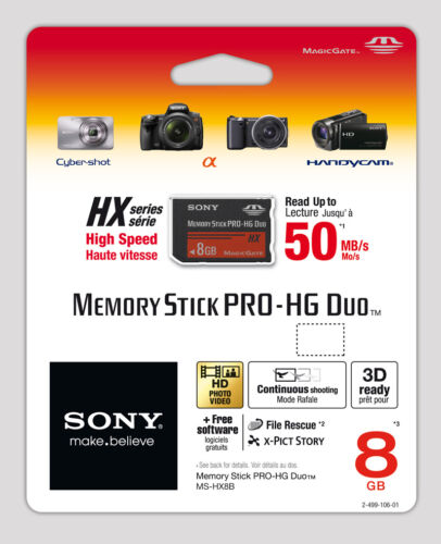 Sony 8GB MS Memory Stick Pro Duo Pro-HG HX Series 50MB/s Free Software MSPD 8G B <br/> USA Seller -Free & Fast Delivery-Brand New Genuine Sony