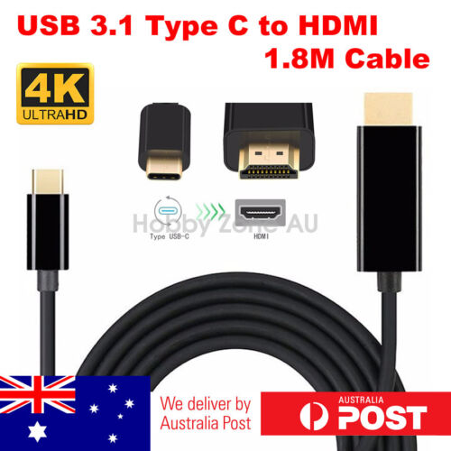 USB C to HDMI Cable USB 3.1 Type C Male to HDMI 4K UHD 1.8m Cable Thunderbolt 3