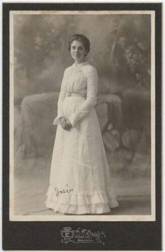 YOUNG LADY JOSIE IN BEAUTIFUL DRESS BY EVANS, CLINTON, ILLINOIS, CABINET CARD