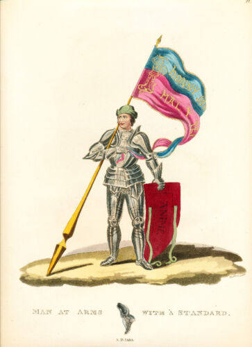 Meyrick Ancient Armour engraving 1842 Man at Arms with a Standard