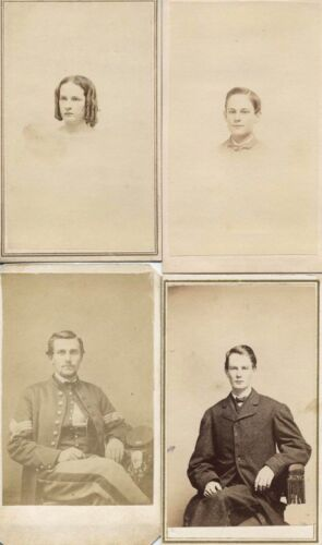 CIVIL WAR SOLDIER AND FAMILY CONCORD NH SET OF 4 CDV,3 WITH STAMPS