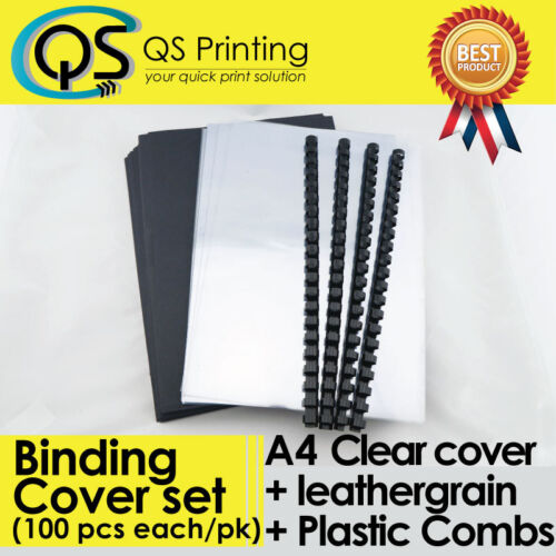 100 sets of A4 PVC clear Cover + A4 Black Leathergrain Cover + Binding Combs
