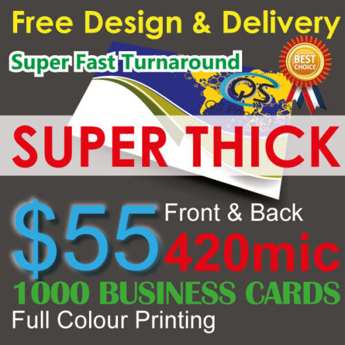 1000 Business Cards Colour Printing 2-sided on 420mic THICK paper + FreeDesign