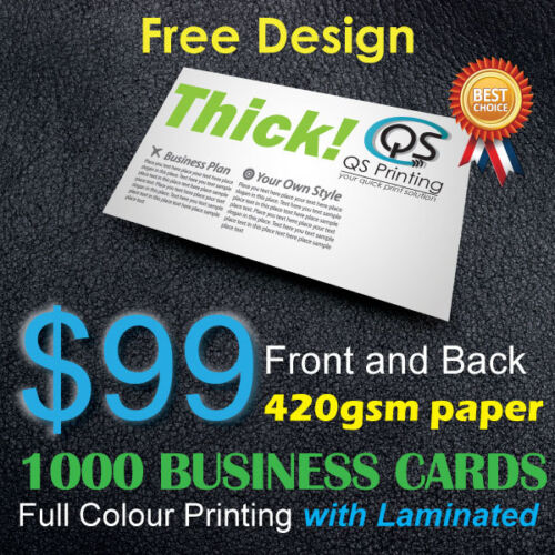 1000 Business Cards full colour Printing (Front&Back) on 420gsm paper+FreeDesign