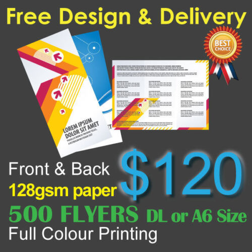 500 Flyers Full colour printing (Front&Back) on 128gsm paper+ Free Design&Post