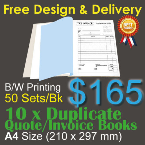 10 x A4 Customised Printed Duplicate QUOTE / Tax INVOICE Books +Free Design&Post