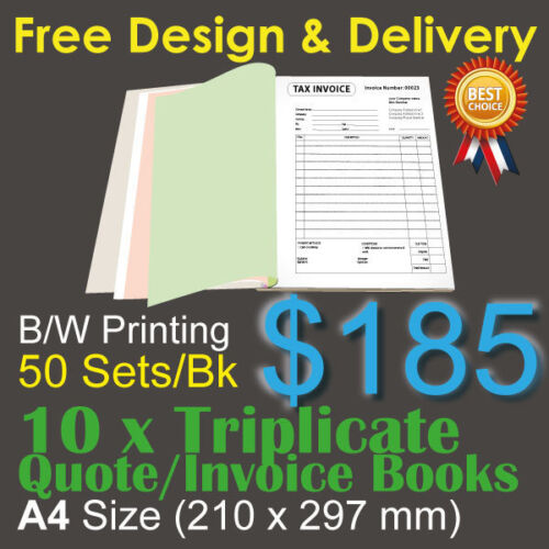 10 x A4 Customised Printed Triplicate QUOTE / Tax INVOICE Books+Free Design&Post