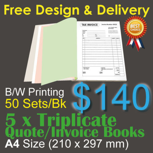 5 x A4 Customised Printed Triplicate QUOTE / Tax INVOICE Books+Free Design&Post