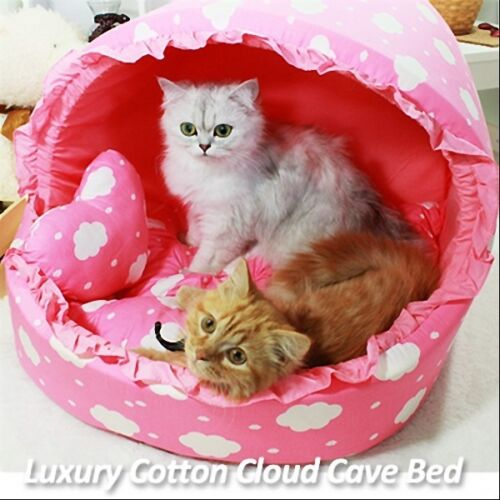Luxury Pet Bed- Baby Pink Cotton Cloud Large House Plush Cave Bed for Dog/Cat