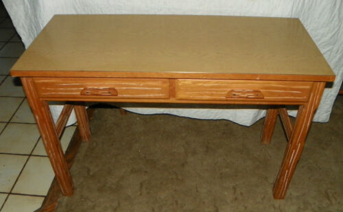 Mid Century Ranch Oak 2 Drawer Formica Top Desk / Sofa Table  (DR43)