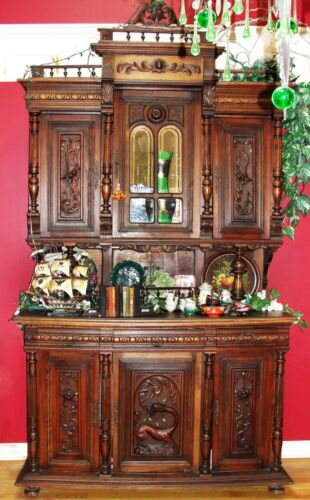 1880 French Renaissance Louis XV Carved Walnut Sideboard Buffet - Huntboard