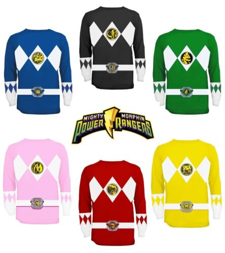Adult TV Show Mighty Morphin Power Rangers Ranger Costume Long Sleeve T-Shirt