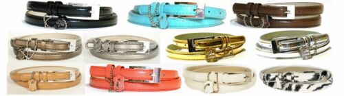 Skinny Belt Leather Half Inch 11 Colors Size S-XL