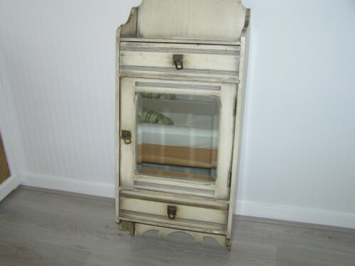ANTIQUE WALL CHEST WITH BEVELED MIRROR.