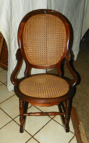 Walnut Carved Caned Rocker / Rocking Chair  (R151)