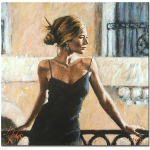 """Fabian Perez      """"Balcony At Buenos Aires III""""      on Canvas     MAKE  OFFER"""