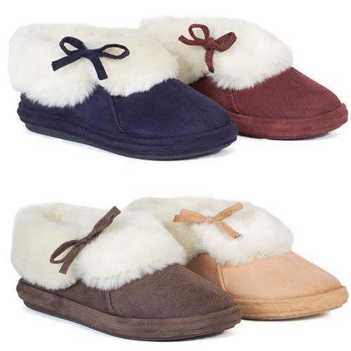 LADIES SLIPPER BOOTS WOMENS SLIPPERS WINTER WARM THERMAL ANKLE BOOTIE SHOES SIZE