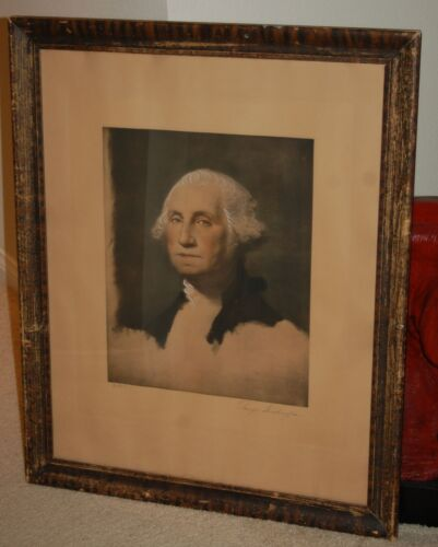 19th C. GEORGE WASHINGTON STUART HAND EMBELLISHED ORIGINAL LITHOGRAPH PORTRAIT