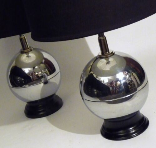ART DECO CHROME SPHERE / BALL FORM TABLE LAMPS