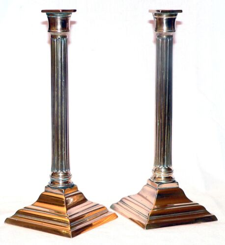 "Pr late 18th c Neoclassical candlestick, English, brass, fluted column, 11"" t"