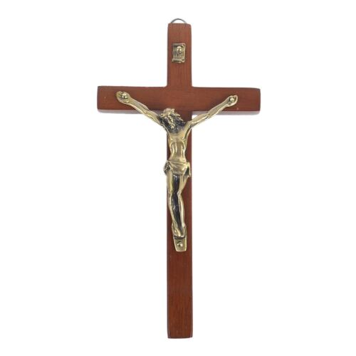Vintage Wooden Metal Wall Cross Crucifix Holy Religious Carved Christ Brown