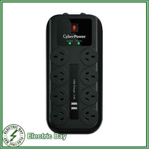 CyberPower 8 Port 8 way Surge Protector Protection Power Board 2 x USB 2.4A Port