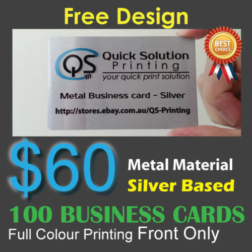 100 Metal Material Business Cards Full Colour Printing Front Only - Silver Based