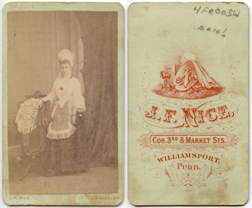 OCCUPATIONAL PHOTO MAID BY NICE OF WILLIAMSPORT, PA, ANTIQUE CDV