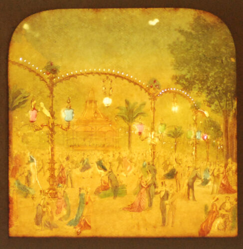 STEREOVIEW TISSUE LITHOGRAPH OF BAL MABILLE DANCE IN COLOR -VINTAGE ORIGINAL