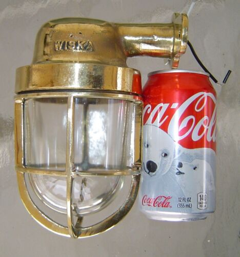 Vintage Cast brass Wall Mounted Nautical Light With WISKA Makers' Mark POLISHED!