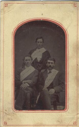 TINTYPE 3 MEN IN FRATERNAL GROUP W/ SASHES OF MINN, MASS,   IND -ORIGINAL 1860S