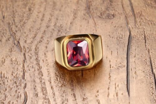 18K GOLD EP 1.25CT GARNET EMERALD CUT MENS RING size 8 - 14 you choose