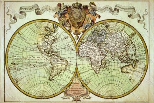 HUGE historic 1720 WORLD MAP OLD ANTIQUE STYLE FINE art print WALL DECOR