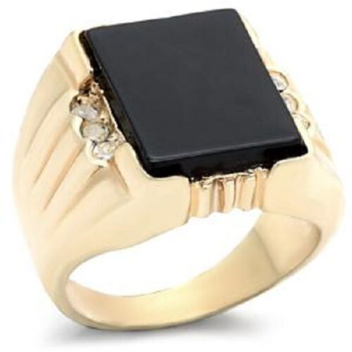 18K GOLD EP ROUND CUT ONYX SET CZ MENS RING size 8 - 14 you choose