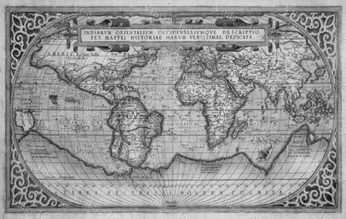 B&W HUGE historic 1589 WORLD MAP OLD ANTIQUE STYLE WALL MAP FINE art print