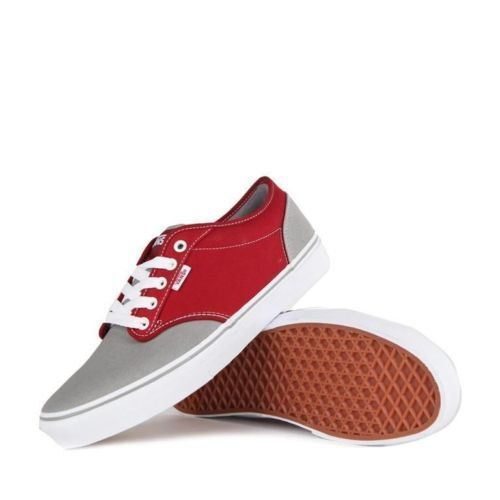 Vans Shoes Atwood Canvas Mid Grey Rio Red USA SIZE Skateboard Sneakers