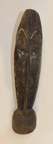 EARLY SMALL CARVED PAPUA/NEW GUINEA HEAD - COWRIE SHELL EYES TRACES OF OLD PAINT