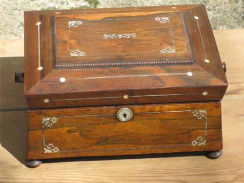 19th FRENCH Regency ROSEWOOD SEWING JEWELLERY BOX, Mother of Pearl MOP INLAY