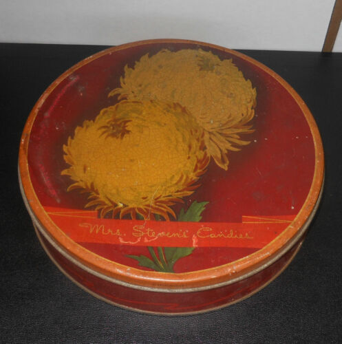 "circa 1920's Mrs. Stevens Candies Painted 2.5 Pound Arts & Crafts Tin 10""x2-1/4"""