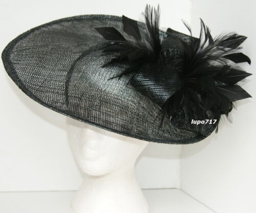 BLACK SILVER SINAMAY FEATHERS HAT FASCINATOR WEDDING ASCOT RACE HEN PARTY NEW