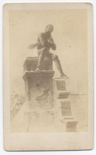 ANTIQUE CDV PHOTOGRAPH OF ARTIST RENDERING OF CHIMNEY SWEEP.
